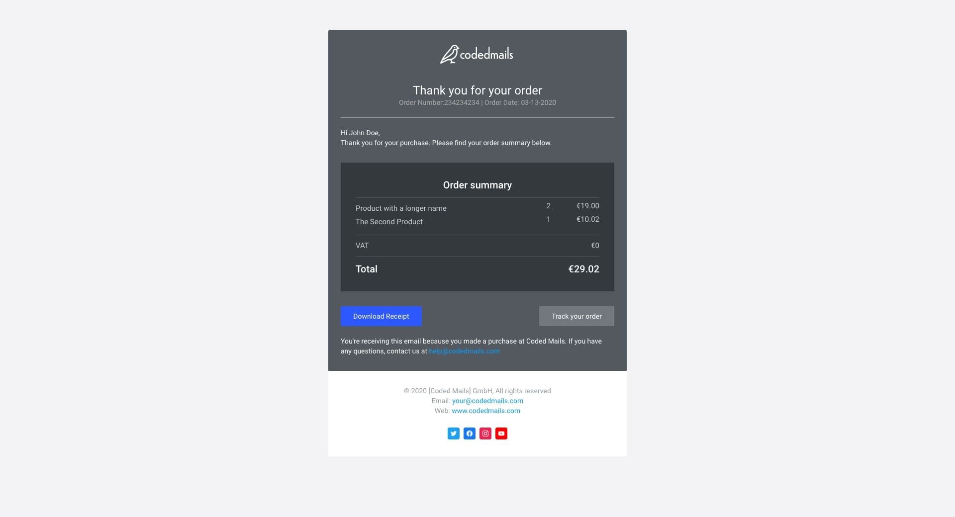 Receipt Email Template